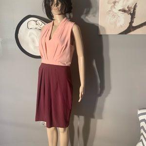 """H&M Size 8 Coral Bordo Midi Dress Length 39"""" VNeck"""
